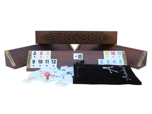 Antochia Hand Carved Wooden Oval Rummy Cube Game Set