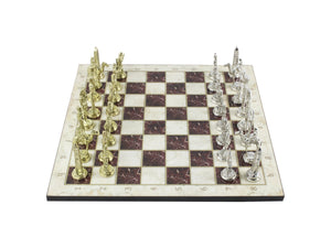 Marble Design Chess Board and Figures 14.5 Inch Antochia Crafts Chess Set