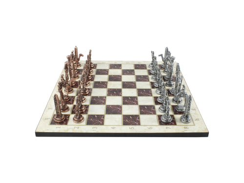 14.5 Inch Marble Design Chessboard and Figures Antochia Crafts