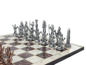 14.5 Inch Marble Design Chessboard and Figures Antochia Crafts Only Chess Figures