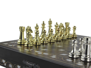 Handmade Wooden Chess Board and Metal Chess Figures Set Antochia Crafts