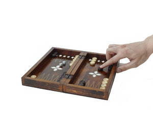 Wooden Backgammon Game Set - Mini Backammon Antochia Crafts