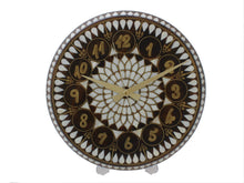 Load image into Gallery viewer, Mother of Pearl and Brass Wire Inlaid Wooden Wall Clock