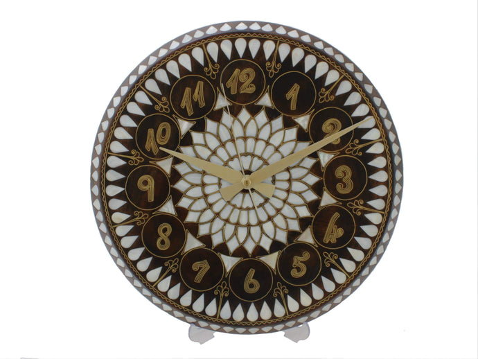 Mother of Pearl and Brass Wire Inlaid Wooden Wall Clock - Antochia Crafts