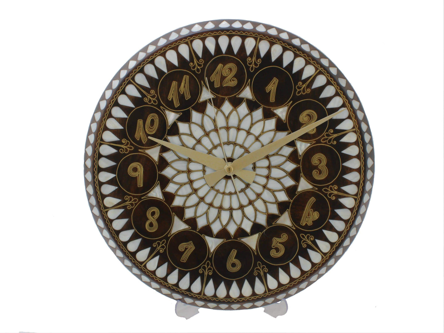 Mother of Pearl and Brass Wire Inlaid Wooden Wall Clock