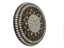Load image into Gallery viewer, Mother of Pearl and Brass Wire Inlaid Wooden Wall Clock - Antochia Crafts