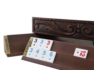 Antochia Hand Carved Wooden Oval Rummy Cube Game Set - Antochia Crafts