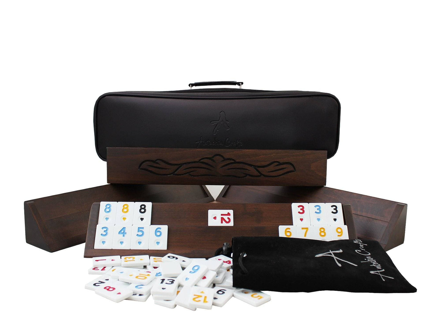 Hand Carved Wooden Straight Rummy Cube Game Set - Antochia Crafts