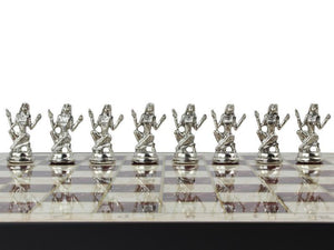 Marble Design Chess Board and Figures 14.5 Inch Antochia Crafts Only Chess Figures