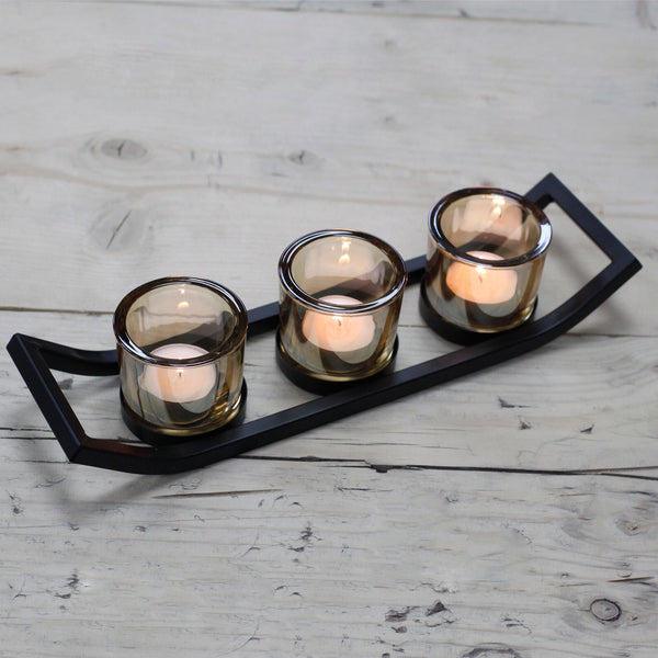 Centerpiece Iron Votive Candle Holder - 3 Cup Ledge