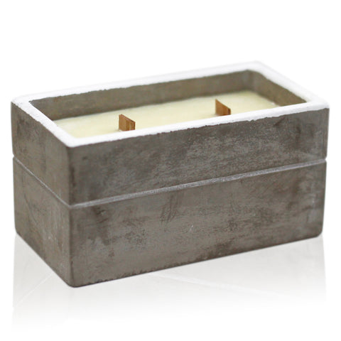 Clove & Dark Sandalwood Large Box Wooden Wick Concrete Candle