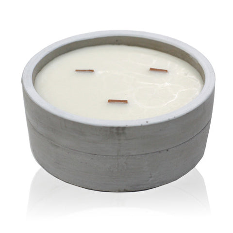 Patchouli & Dark Amber Large Round Wooden Wick Concrete Candle