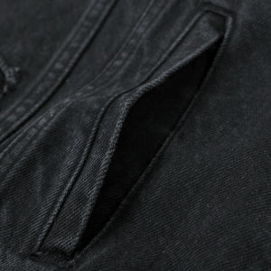DAMAGED DENIM JACKET (BLACK)