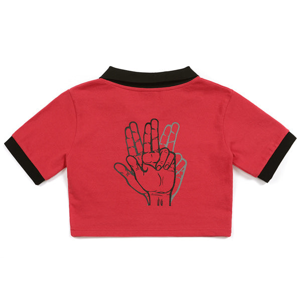 COLOR SCHEME CROP POLO SHIRT (RED)