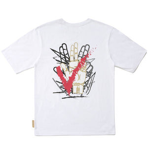 HAND LOGO BLACK GRAFFITI T-SHIRTS (WHITE)