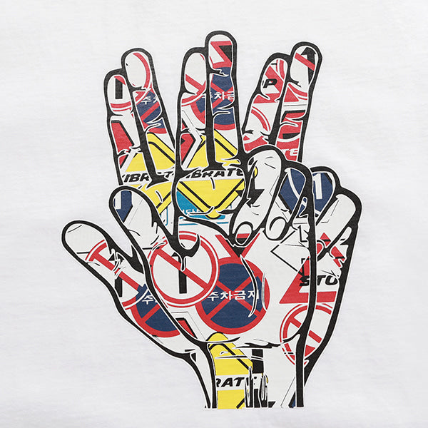 TRAFFIC HAND SIGN T-SHIRTS (WHITE)