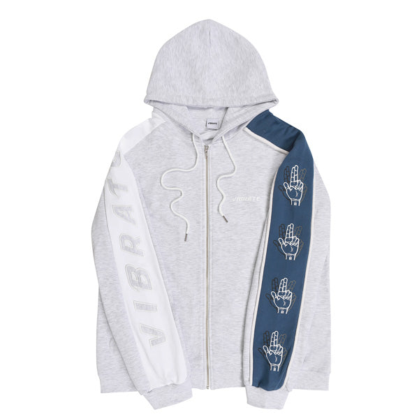 SLEEVE COLOR SCHEME HOODIE ZIPUP (WOMAN) (MELANGE & BLUE)