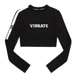 BELT DETAIL LOGO CROP LONG SLEEVE (WOMAN) (BLACK)