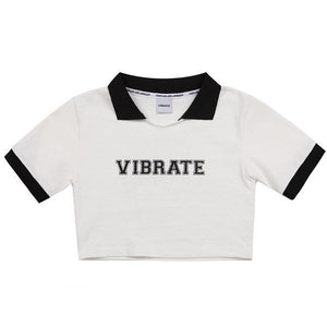 COLOR SCHEME CROP POLO SHIRT (WHITE)