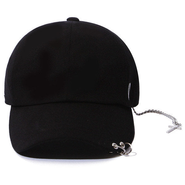 SILVER CROSS BALL CAP (BLACK)