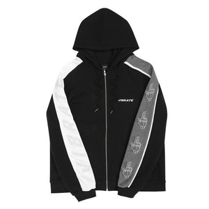 SLEEVE COLOR SCHEME HOODIE ZIPUP (WOMAN) (MELANGE & BLACK)