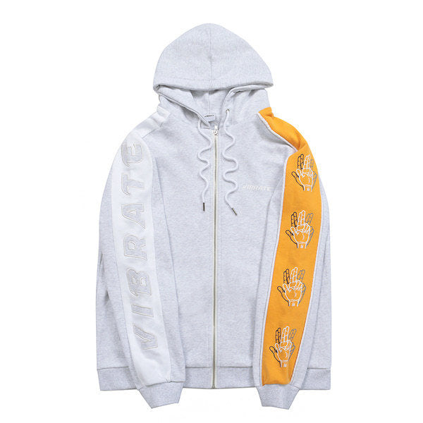 SLEEVE COLOR SCHEME HOODIE ZIPUP (WOMAN) (MELANGE & YELLOW)