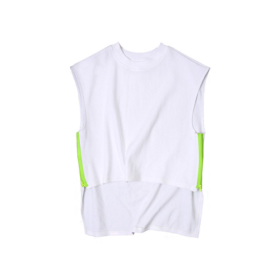 SIDE ZIPPER SLEEVELESS SHIRT (WHITE)