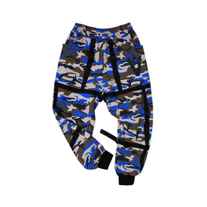STRAP BUCKLE JOGGER PANTS (CAMO BLUE)