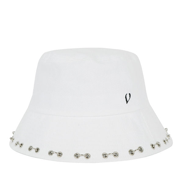 PUNCHED PIERCING BUCKET HAT (WHITE)