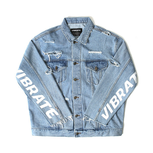 DAMAGED DENIM JACKET (BLUE)