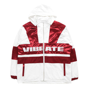 VELVET COLOR SCHEME WIND BREAKER (WHITE/RED)