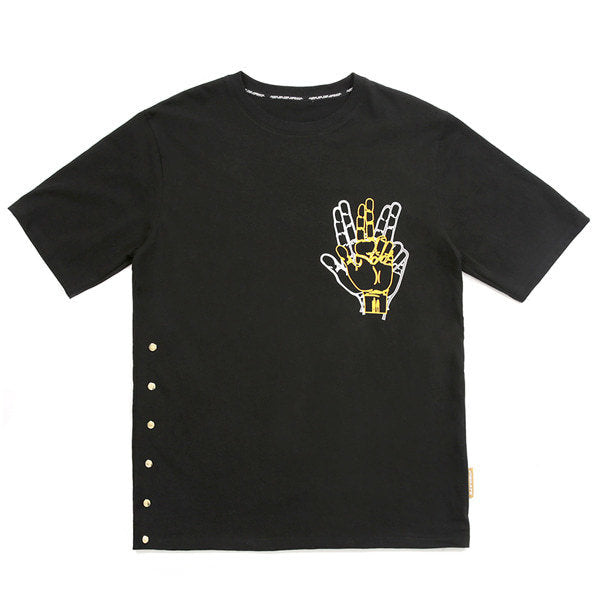 SIDE SNAP BUTTON T-SHIRTS (BLACK)