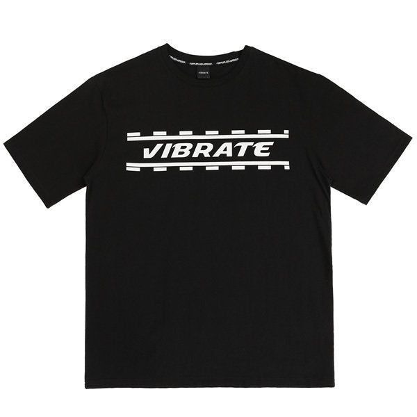 DOTTED WHITE LINE T-SHIRTS (BLACK)