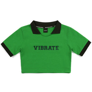 COLOR SCHEME CROP POLO SHIRT (GREEN)