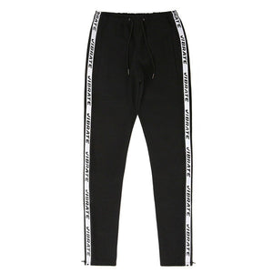 SIDE ZIPPER TAPING PANTS (BLACK)