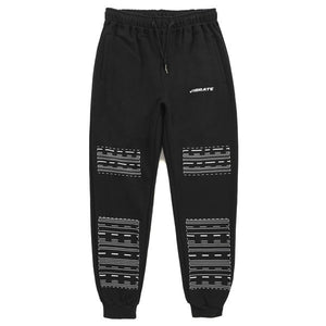 DOTTED WHITE LINE JOGGER PANTS (BLACK)