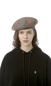 CHECKED PATTERN BERET