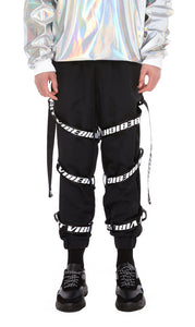 WEBBING POINT CARGO PANTS (BLACK)