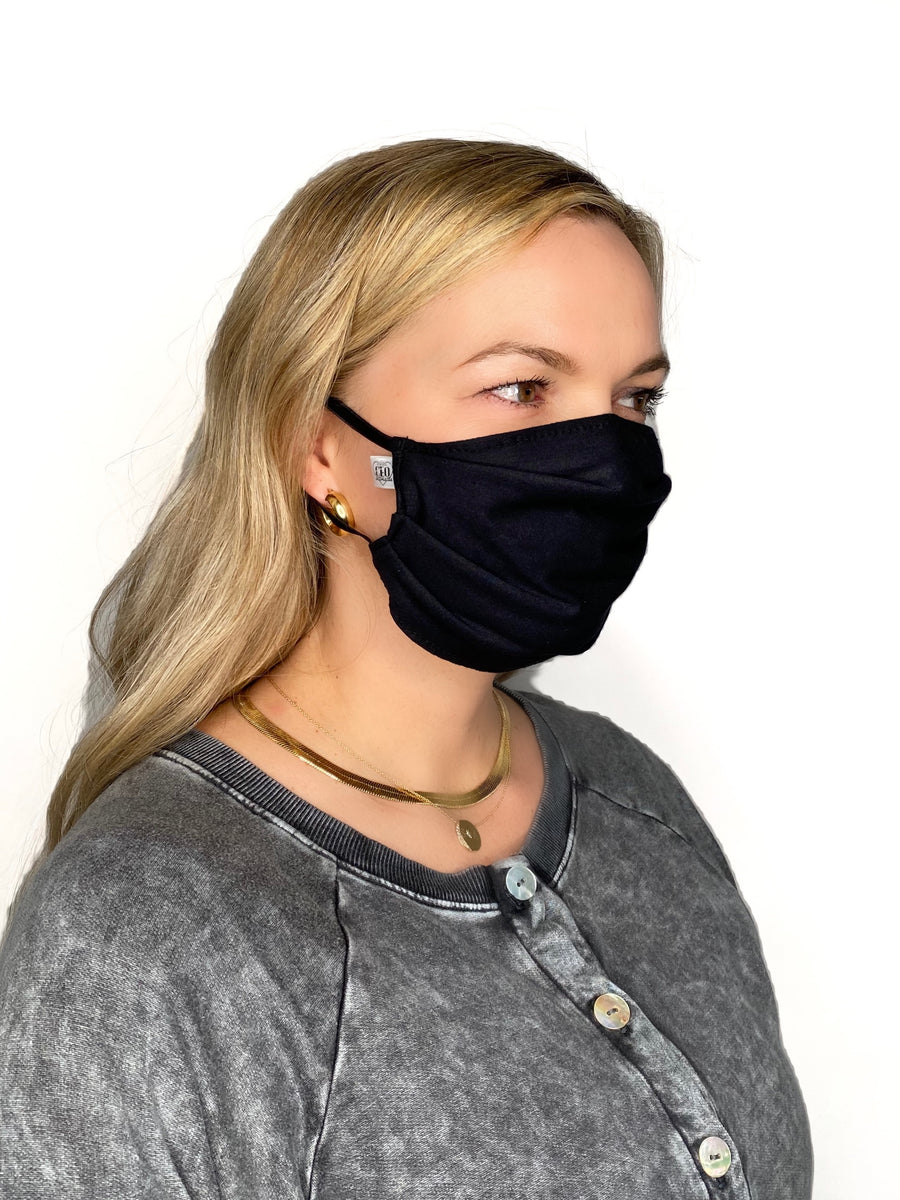 Superbly soft, micro-modal face masks are like pajamas for your face. All are made from micro-modal which is incredibly comfortable, breathable and machine washable. Solid Colored ( Black ) and Tie Dye Face Masks  Edit alt text