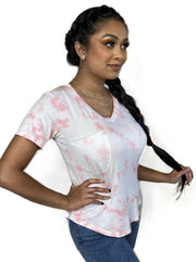 Rose Quartz Tie Dye pocket womens t-shirt short sleeve modal and spandex comfortable breathable tie dye ceo intimates kimber tee