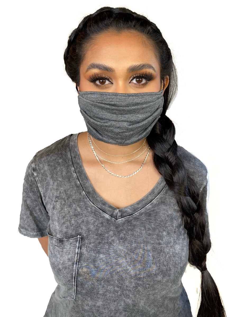 Superbly soft, micro-modal face masks are like pajamas for your face. All are made from micro-modal which is incredibly comfortable, breathable and machine washable. Solid Colored and Striped and Tie Dye Face Masks ( Grey)