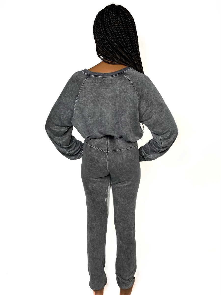 Grey Mineral Wash, micro-modal french terry, uber soft sweat pant coordinates with our Gwen Sweat Shirt and Natty Sweat Short. Includes elastic waistband and drawstring. match your mini in our coordinating Mommy & Me Collection, a limited edition collaboration with BellaBu Bear.