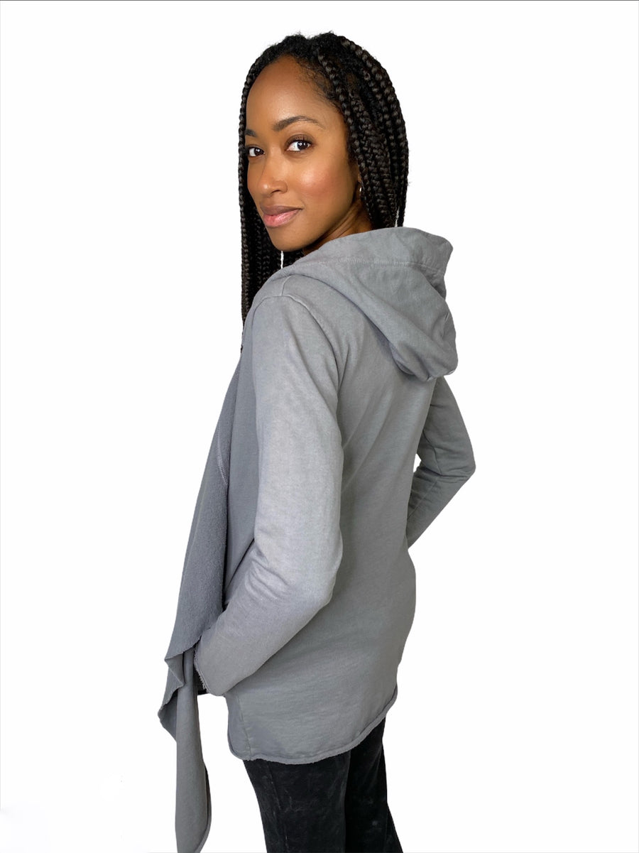 sweet shawl hoodie hooded sweat shirt organic cotton sweatshirt charcoal pockets hood