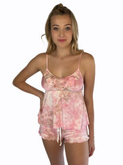 Pink and Tan Tie Dye, flirty pajama set has a feminine ruffle detail and comes in fun prints and tie dye colors, tank and booty short set.