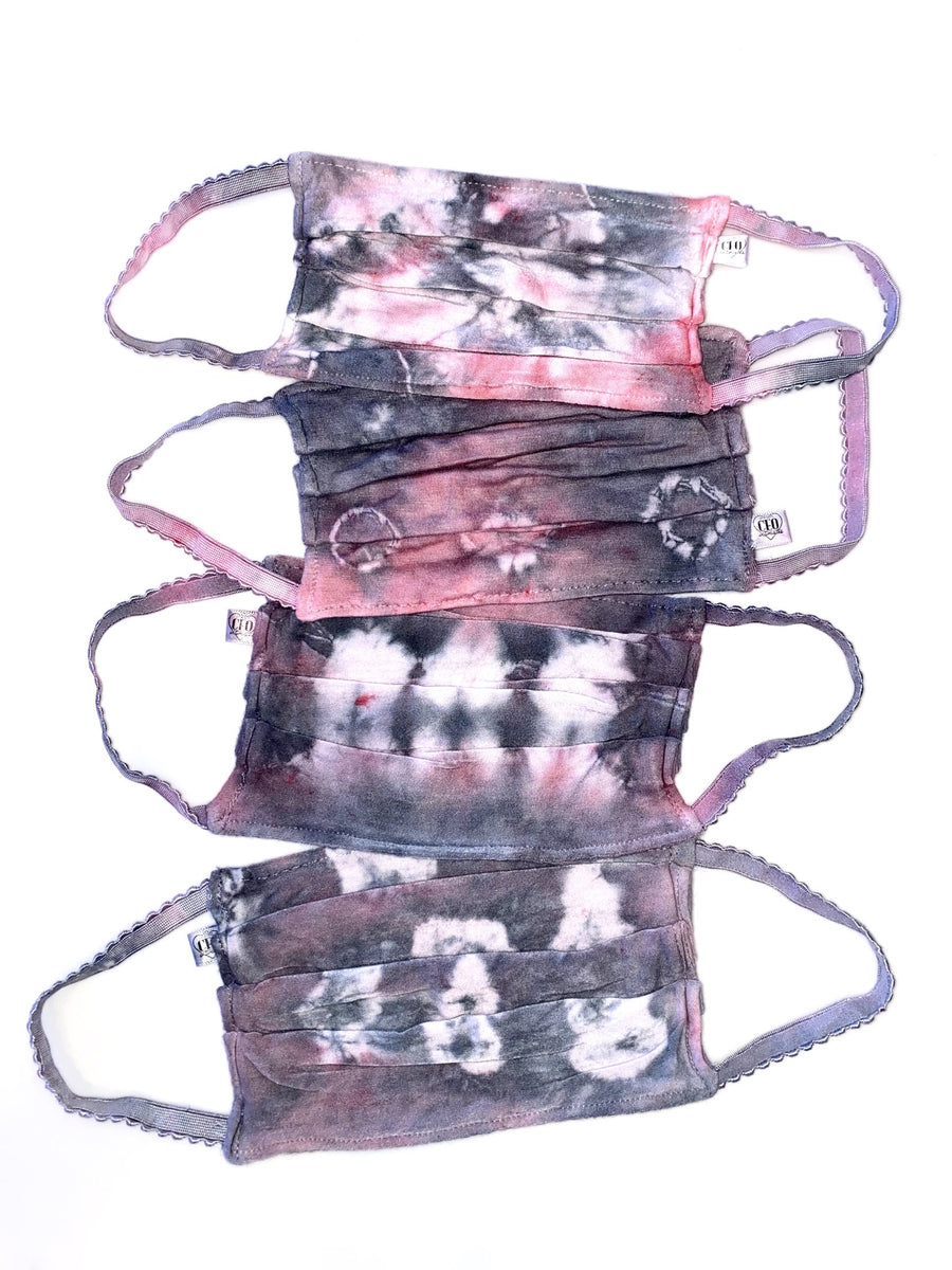 Superbly soft, micro-modal face masks are like pajamas for your face. All are made from micro-modal which is incredibly comfortable, breathable and machine washable. Solid Colored and Striped and Tie Dye Face Masks ( Pink and Grey  )