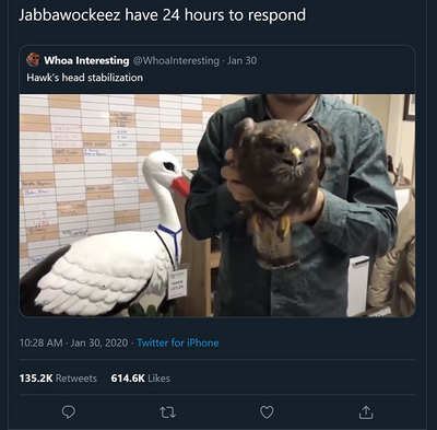 Jabbawockeez respond to a Hawk within 24 hrs on Twitter
