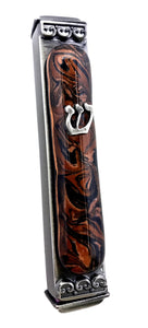 Weatherproof Mezuzah - Colorful Marbleized Art Glass  (Click to See More Color Options)