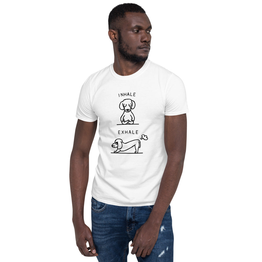 Short-Sleeve Unisex T-Shirt-DACHSHUND INHALE  EXHALE