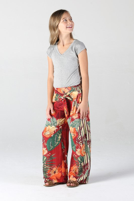 Girls Hibiscus Print Pants