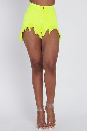 Distressed Neon Shorts